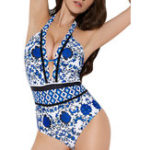 New One-Piece Printed Halter Backless Swimwear