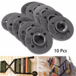 New 10pcs 1 Inch DIY Malleable Threaded Floor Flange Iron Pipe Fittings Wall Mounted