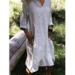 New Women Casual Cotton Pure Color Button Pockets Dress