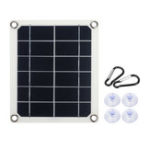 New 5W 5V Semi-Flexible Monocrystalline Solar Panel with Junction Box Dual USB Charger + 4xSucker + 2xCarabiner Kit for Outdoor Charger