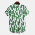 New Mens Summer Leaf Printed Cotton Breathable Casual Shirts