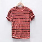 New Mens Striped Summer Crew Neck Loose Short Sleeve T-Shirts