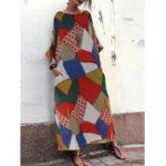 New Bohemian Geometric Print Loose Casual Maxi Dress