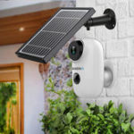 New GUUDGO A3 and Solar Panel Wireless Rechargeable Battery-Powered Security Camera for Outdoor Indoor Home Surveillance 130degree Wide View 2-Way Audio Starlight Night Vision PIR Motion Sensor SD Card