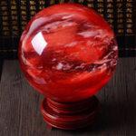 New 8CM Red Crystal Ball Calcite Quartz Sphere Healing Gemstone Meting Decorations