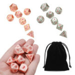 New 7pcs Heavy Metal Polyhedral Dices DnD RPG SET w/ Bag