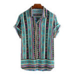 New Mens Ethnic Style Pattern Printed Summer Loose Casual Shirts