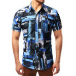 New Mens Abstract Contrast Color Casual Loose Printing Shirts