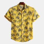New Mens Palm Tree Floral Printed Summer Vacation Hawaiian Shirt