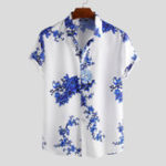 New Men Porcelain Floral Print Short Sleeve Relaxed Shirts