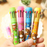 New 4Pcs/lot Cartoon Ballpoint Pens 10 Color Lovely Princess Mickey Spongebob Hello Kitty Little Bear Smile-face Press Ballpoint Pen Office School Supplies Kids Students Stationery Gift