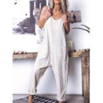 New Women Cotton Pure Color Sleeveless Strap Jumpsuit