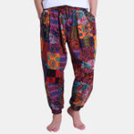 New Mens Ethnic Style Printed Loose Cotton Casual Harem Pants