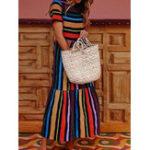 New Vintage Short Sleeve High Waist Rainbow Striped Dress