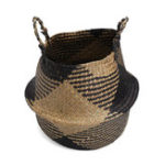 New Black Natural Seagrass Belly Storage Baskets Straw Planter Container Plant Pot Laundry Storage Home Decorations