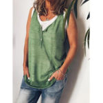 New Sleeveless V Neck Button Solid Casual T-shirts
