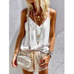 New Women Solid Color V Neck Casual Sleeveless Tops