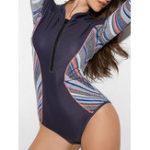 New One-Piece Long-Sleeved Zipper Striped Swimwear