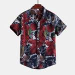New Mens Leaf Printing Short Sleeve Linen Casual Hawaiian Shirts