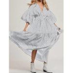 New Women Polka Dot Puff Sleeve V Neck Maxi Shirt Swing Dress