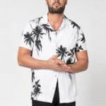 New Men Coconut Tree Print Short Sleeve Relaxed Hawaiian Shirts