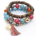 New Bohemian Multi-Layer Wooden Tassels Bracelet