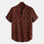 New Mens Vintage Ethnic Printed Summer Loose Comfy Henley Shirts