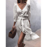 New Women Solid Color Button V-neck 3/4 Sleeve Casual Dress
