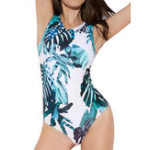New One-Piece Print Zipper Swimwear