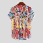New Mens Summer Multi Color Printing Practical Pocket Shirts