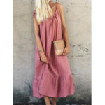 New Casual Loose Spaghetti Straps Solid Color Ruffles Hem Dress