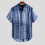 New Men Tie Dye Cotton Short Sleeve Breathable Henley Shirts