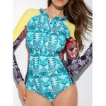 New One-Piece Print Long-Sleeved Zipper Swimwear