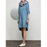 New Women Turn-Down Collar Half Sleeve Denim Shirt Dress