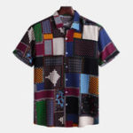 New Mens Funny Patchwork Printed Summer Loose Fashion Shirts