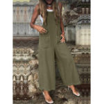 New Women Wide Leg Spaghetti Strap Pockets Jumpsuit