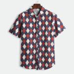 New Mens Prismatic Printed Loose Casual Summer Hawaiian Shirts