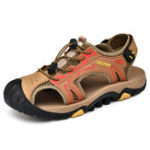 New Anti-Collision Toe Outdoor Hiking Genuine Leather Sandals