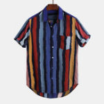 New Men Cotton Vertical Stripe Button Down Short Sleeve Shirts