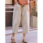 New Women Casual Solid Color Elastic Waist Trouser Pants