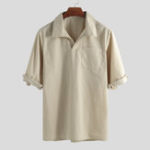 New ChArmkpR Men Solid Single Pocket Half Sleeve Shirts