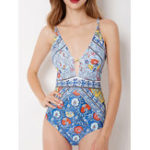New One-Piece Printed Lace-Up Backless Swimwear