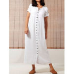 New Women Short Sleeve Button Solid Color Casual Shirt Dress