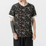 New Mens Summer Floral Printing V Neck T-Shirts