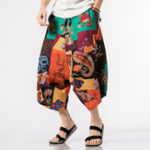 New Mens Summer Ethnic Style Cotton Printing Pants