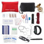 New 197Pcs SOS Emergency Camping Survival First Aid Kit Flashlight Bracelet Whistle