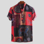 New Mens Ethnic Colorful Printing 100% Cotton Shirts