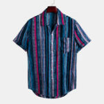 New Men Fashion Colorful Chest Pocket Design Loose Striped Shirt