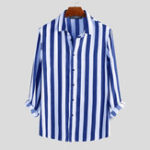 New Mens Casual Business Long Sleeve Classic Striped Shirts