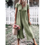 New Button Solid Color Wide Leg Pant Jumpsuit Overalls